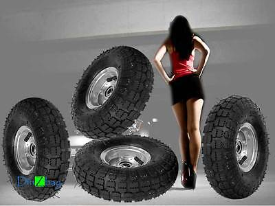 """4 TIRES 10"""" HD NEW STEEL AIR PNEUMATIC, HAND TRUCK DOLLY, WAGON  350 lbs 50 psi"""