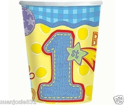 Hugs and Stitches 1st Birthday Boy 9oz Hot Cold Paper Cups 8ct Party Supply