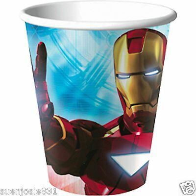 Marvel Iron Man 2 Avengers 9oz Hot Cold Paper Cups 8pcs Party Supplies