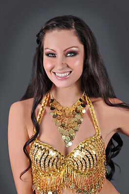 V Shaped Coin Necklace! Silver! Belly Dance Wear!