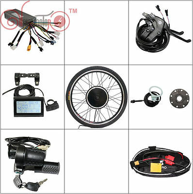 "48v 1500w 26"" Front Wheel Electric Bike Conversion Kit Sine Wave Controller LCD3"
