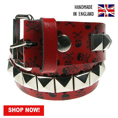 "38mm Red Pyramid Studded Printed Real Leather Belt Made In UK Sizes 28""-44"""