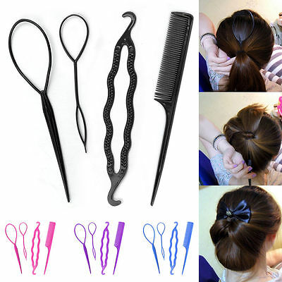 4 Pcs Set Girl Styling Clip Bun Maker Hair Twist Braid Ponytail Tool Accessories