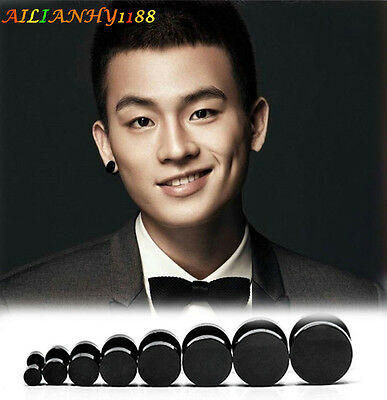 1 Pair Men's Punk Street Style Barbell Round Small/Big Ear Stud Piercing Earring