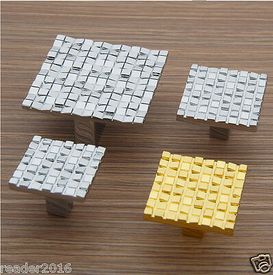 10 pcs Silver Golden cabinet handles knob square mosaic pull kitchen cupboard