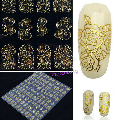 108PCS 3D Flower Decal Stickers Gel Nail Art Stamping Manicure Decoration EF
