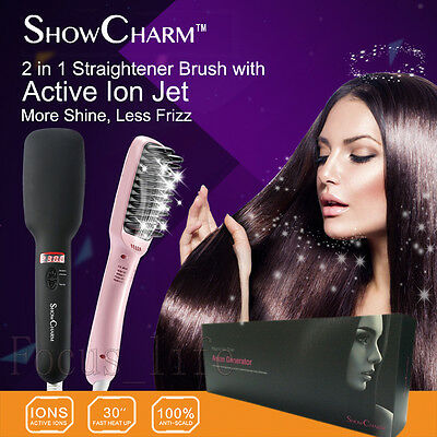 Auto Pro 230°C Electric Straight Hair Comb Brush LED Display Straightening Irons