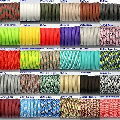50-100FT 550 Paracord Parachute Cord Lanyard Mil Spec Type III 7 Strand Core #01