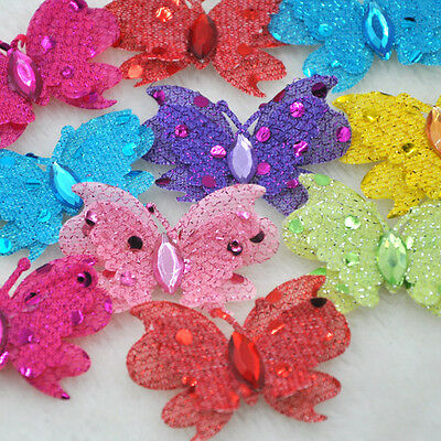 20pcs Padded Fabric Flower Butterfly Appliques Doll baby Lots E295