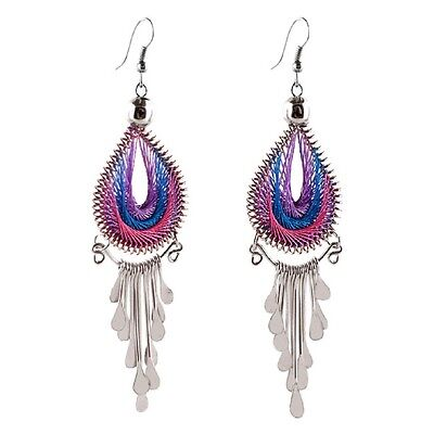 #4260 Two Pair Drop Thread Assorted Color Earrings Jewelry Artisan Fair Trade