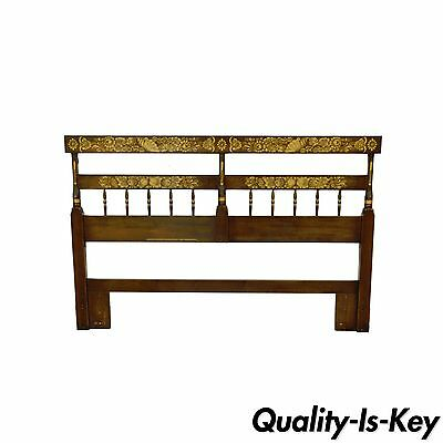 Vintage Hitchcock Harvest Stencil Painted Cherry Full or Queen Sz Bed Headboard
