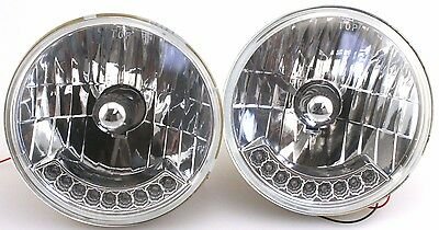 "Pair 7"" Silver Bullet H4 Halogen Headlight W/ LED Turn Signal Hot Rod CHEVY FORD"