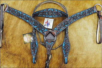 New Hilason Western Leather Horse Bridle Headstall Breast Collar Brown Turquoise