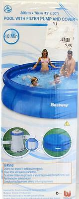 Bestway Above Ground Inflatable 12ft Pool With Filter & Cover 366cm x 76cm New