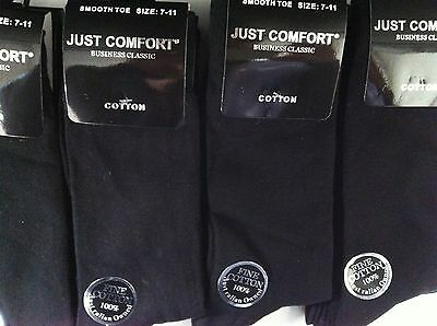 6 X New Cotton Mens Work/business/dress Socks Black 7-11 Or King Size:11-14