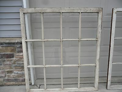 "Large Vintage Sash Antique Wood Window Frame Shabby Chic 12 Pane 60""x54"""