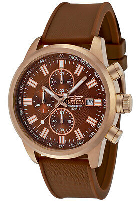 New Mens Invicta 1682 Chronograph Copper Brown Rubber Strap Watch