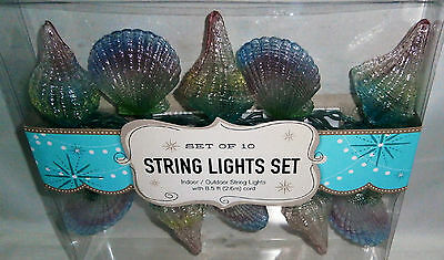 Decorative String Light Set 10 Ct  COLORFUL SEASHELLS  8.5 ft Cord