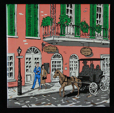 """Vintage 1982 Wall Hanging Handmade Tile Vieux Carre Creations New Orleans 6""""x6"""""""