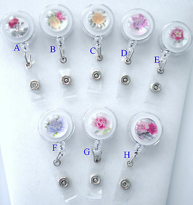 Badge ID Name Holder Reel with Retractable Cord. Great Quality Pretty Designs