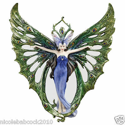 Art Nouveau-era  PEACOCK PRINCESS MIRRORED WALL SCULPTURE