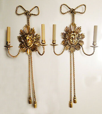 Antique French empire style bronze pair of sconces Solid bronze