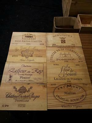 6 Pack Of Wine Wooden Box Case Crate End Panels / Wall Plaque Mini Bar Decor :