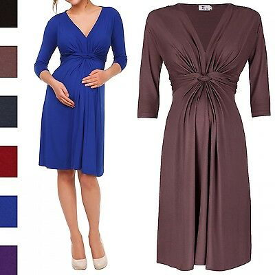 Happy Mama. Women's Maternity Knotted Skater Dress Pregnancy. 3/4 Sleeves. 786p