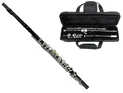 MERANO BLACK LACQUER PLATED FLUTE KEY OF C WITH CASE. Shipping is Free