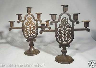 Antique Hugo Berger Jugendstil German Arts and Crafts Candlesticks Goberg