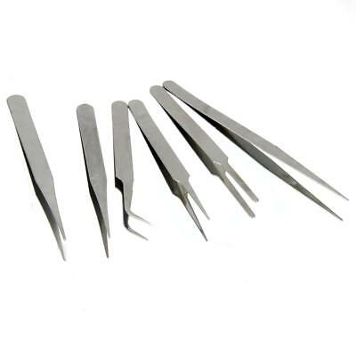 6 Tweezer Set Stainless Steel Precision Hobby Jewelry Craft Electronic Stamp