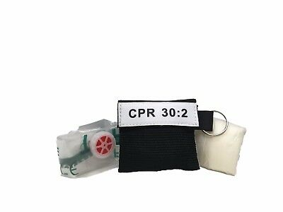 100 Black Extra Large Facial Shield CPR Mask in Keychain with Heavy Duty GLOVES