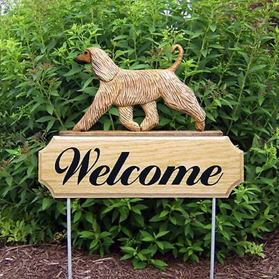 Afghan Breed Oak Wood Welcome Outdoor Yard Sign Fawn