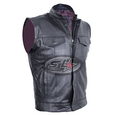 UK Stock New Mens Son Of Anarchy Real Leather Motorcycle Biker Waistcoat/Vest