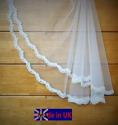 Wedding Veil *Fingertip Length*2 Tiers*Made to Order*off white/Ivory*Bespoke *