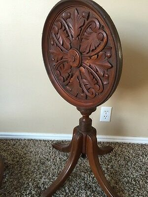 Antique Beautiful Mahogany Carved Tilt Top Table