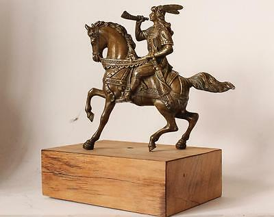 Antique Bronze Statue Ancient Medieval Warrior on Horse Wooden Pedestal c.1900