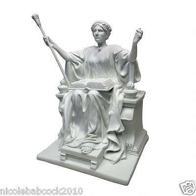 Ancient Greek Mythological Goddess Athena W/ Scepter Crown & Bible Sculpture
