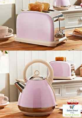 Prolex PASTEL PINK Pyramid Kettle 300W Fast Boil & 2 Slice PASTEL PINK Toaster