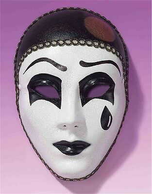 New Halloween Costume Unisex Sad Face White Pierrot Theatrical Mask