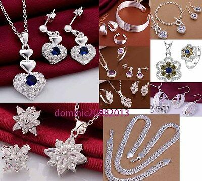 ladies XMAS birthday wedding gift jewellery 925 silver neckalce ring earring set