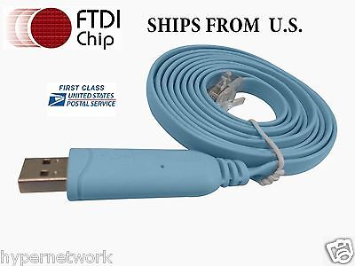 Cisco Console Cable  USB RJ45 6ft  FTDI Chip Win 7 Win 8  MAC Linux RS232