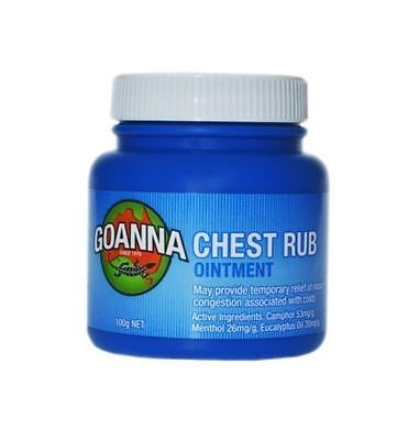 Goanna Chest Rub Ointment 100G Temporary Relief Of Nasal Congestion Cold Flu
