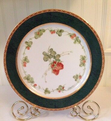 Germer Porcelanas Brazil Signed D. Hansen Hand Painted Strawberry Plate 10 3/4""