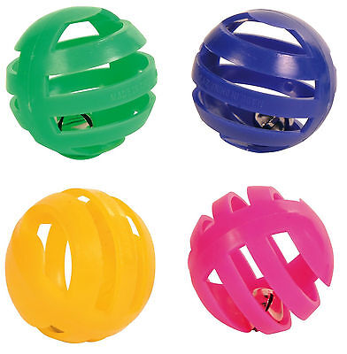 Set of 4 Plastic Cat Balls with Bell Fun Play Cat Kitten Toy