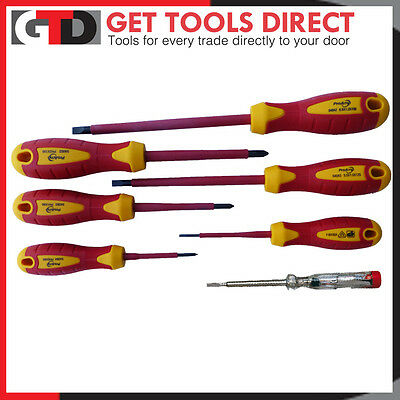 ProAmp 7 Piece 1000v VDE Electricians Screwdriver Set Kit Insulated And Tester