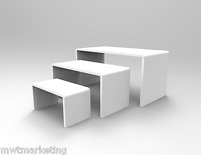 3 Piece Display Riser Set  Acrylic Perspex WHITE 4.5 mm  - Displays Shoes Sale