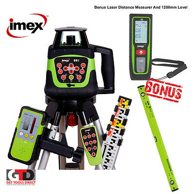 Imex 88G Green Beam Grade Laser Level with Tripod and Staff