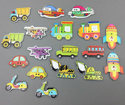 100 Motorcycle car aircraft Wooden Button Sewing Scrapbooking transport tool