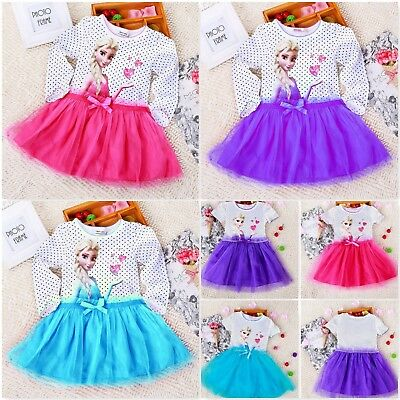 Baby Girls Disney Frozen Princess Elsa Anna Tutu Dress Birthday Party Dresses